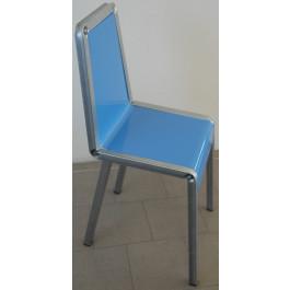 Sedia verniciata blu per negozio di abbigliamento in kit da 4 pezzi