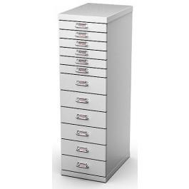 Cassettiera metallica alta a 12 cassetti da ufficio cm. 29,1x43x97h