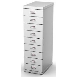 Cassettiera in metallo verniciato a 9 cassetti per ufficio cm. 29,1x43x97h