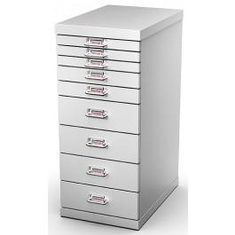 Cassettiera metallica verniciata a 9 cassetti da ufficio cm. 29,1x43x67h