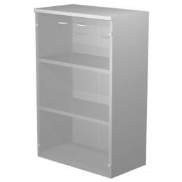 Libreria colore grigio alluminio con ante in vetro per ufficio operaitvo