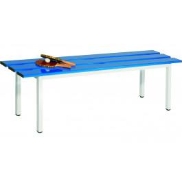 Panca con doghe in alluminio verniciato blu