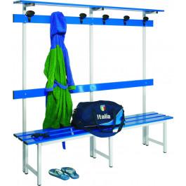Panca con schienale e appendiabiti con doghe in alluminio verniciato blu