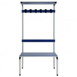 Panca spogliatoio con schienale e portaborse in alluminio anodizzato a 3 posti cm. 100x41x187h