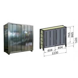 Porta scorrevole in lamiera zincata per fronte scaffalatura cm. 120x100,5h