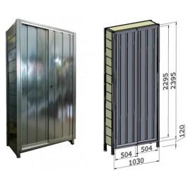 Porta scorrevole in lamiera zincata per fronte scaffalatura cm. 120x244h