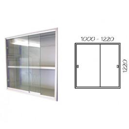 Porta scorrevole in vetro con telaio verniciato per fronte scaffalatura cm. 120x122h