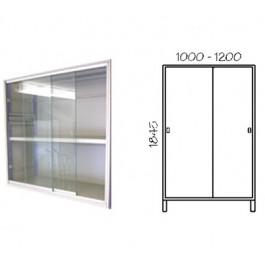 Porta scorrevole in vetro con telaio verniciato per fronte scaffalatura cm. 100x184,5h