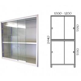 Porta scorrevole in vetro con telaio verniciato per fronte scaffalatura cm. 120x244h