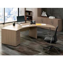 Postazione di lavoro per ufficio direzionale con scrivania e cassettiera cm. 379x80x73h