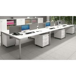 Composizione lineare scrivanie in melaminico con cassettiere da ufficio cm. 360x164x72,5h