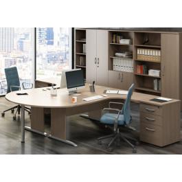 Postazione lavoro con scrivanie e cassettiere da ufficio cm. 230x208x73h