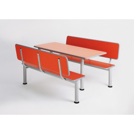 Canteen table with frame in steel tube and top cm. 70x70