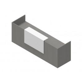 Composizione reception con moduli ad angolo in melaminico rovere twist