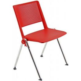 Sedia in plastica con struttura in metallo cromato per sala da attesa