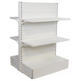 Scaffale centro stanza per arredo negozi di metallo verniciato colore bianco cm. 97x40x140h