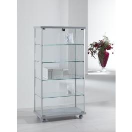 Vetrina per esposizione negozi con ruote e piani interni regolabili in altezza cm. 73x39x141h
