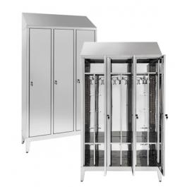 Armadio spogliatoio in acciaio inox AISI 430 a 3 posti con tramezza interna sporco/pulito cm. 120x40x215h