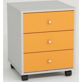 Cassettiera a 3 cassetti in melaminico colore arancione