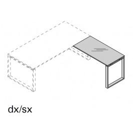 Allungo laterale per scrivania OFFICE DIREZIONALE con gamba ad anello e piano in vetro prof. 60 cm.