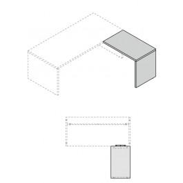Allungo laterale Dx per scrivania OFFICE DIREZIONALE con gamba pannellata prof. 60 cm.