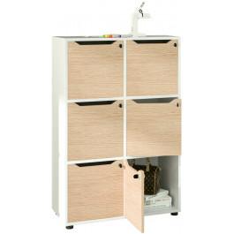 Casellario in legno verniciato con 6 caselle ad ante cm. 80x40x121,6h