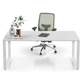 Scrivania in legno per ufficio con gambe ad anello metalliche cm. 80x80x75h