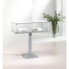 Vetrina espositiva con profili alluminio e piantana in metallo cm. 101x51x100h
