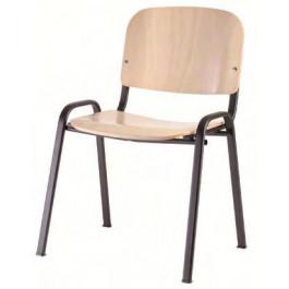 Seduta da attesa su gambe fisse con sedile e schienale in faggio