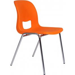 Sedia fissa su gambe con struttura in plastica colorata impilabile