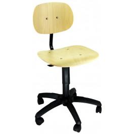 Sgabello con ruote o piedini con schienale e seduta in faggio cm. 44x63x85/95h
