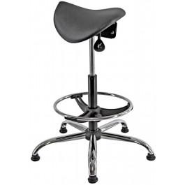 Sgabello ergonomico con poggiapiedi e base in acciaio cromato cm. 35x63x59/84h