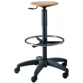 Sgabello con poggiapiedi e sedile in faggio regolabile in altezza cm. 32x60x55/80h