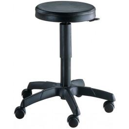Sgabello ergonomico con ruote e sedile in poliuretano con elevazione a gas cm. 32x60x44/56h
