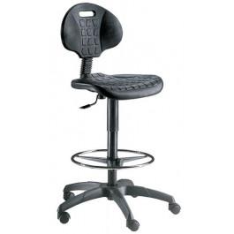 Sgabello ergonomico con scocca in poliuretano e seduta alta cm. 46x63x100/125h