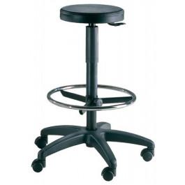 Sgabello da laboratorio con poggiapiedi e sedile in poliuretano cm. 32x60x65/90h