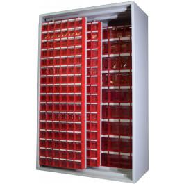 Armadio Madia metallico con cassettiere e pannelli scorrevoli cm. 127x60,5x196,5h