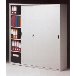 Armadio archiviazione a piani interni ad incastro con ante metalliche scorrevoli cm. 180x37x200H