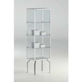 Teca alta per negozio con quattro gambe in metallo e tre piani cm. 51x37x170h