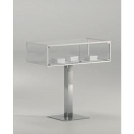Teca espositiva con base a colonna in metallo per musei cm. 101x51x100h