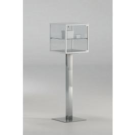 Teca espositiva quadrata su piantana in metallo per mostre cm. 45x45x154h