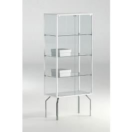 Teca in cristallo con profili in alluminio e tre piani per mostre cm. 71x37x170h
