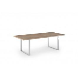 Tavolo da riunione rettangolare con fianchi in metallo effetto cromato cm. 220x100x74h