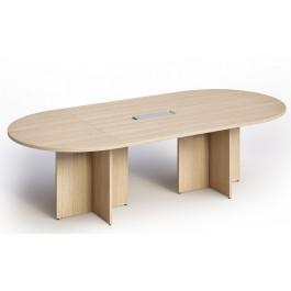Tavolo riunioni ovale in melaminico con struttura pannellata