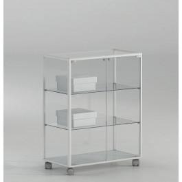 Vetrina bassa rettangolare per esposizione con piani regolabili per negozio cm. 71x37x90h