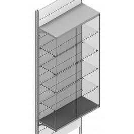 Vetrina posizionata sulla base con quattro piani interni per scaffale negozio cm. 97x40x183h