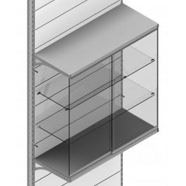 Vetrina pensile con due piani interni per scaffale negozio cm. 97x40x100h