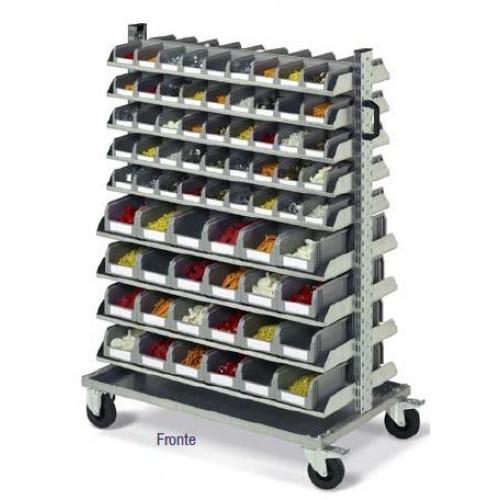 Cassettiere In Plastica Con Ruote.Scaffale Su Ruote Con 138 Cassetti In Plastica Practibox Cm 123x61
