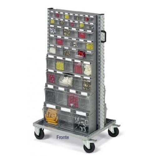 Cassettiere Plastica Con Ruote.Scaffale Per Minuterie Su Ruote Con 106 Cassetti In Plastica Practibox Cm 72 5x61 3x143h