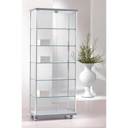 Vetrina per negozi con ruote e piani in vetro temperato regolabili in  altezza cm. 73x39x183h